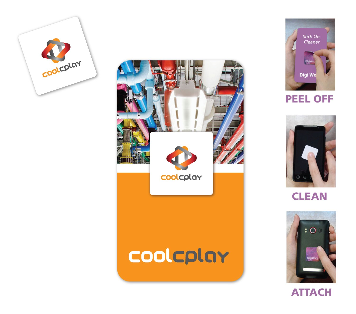 """Full Color Screen Cleaner Sticker - Square Shape (1"""" x 1"""")"""