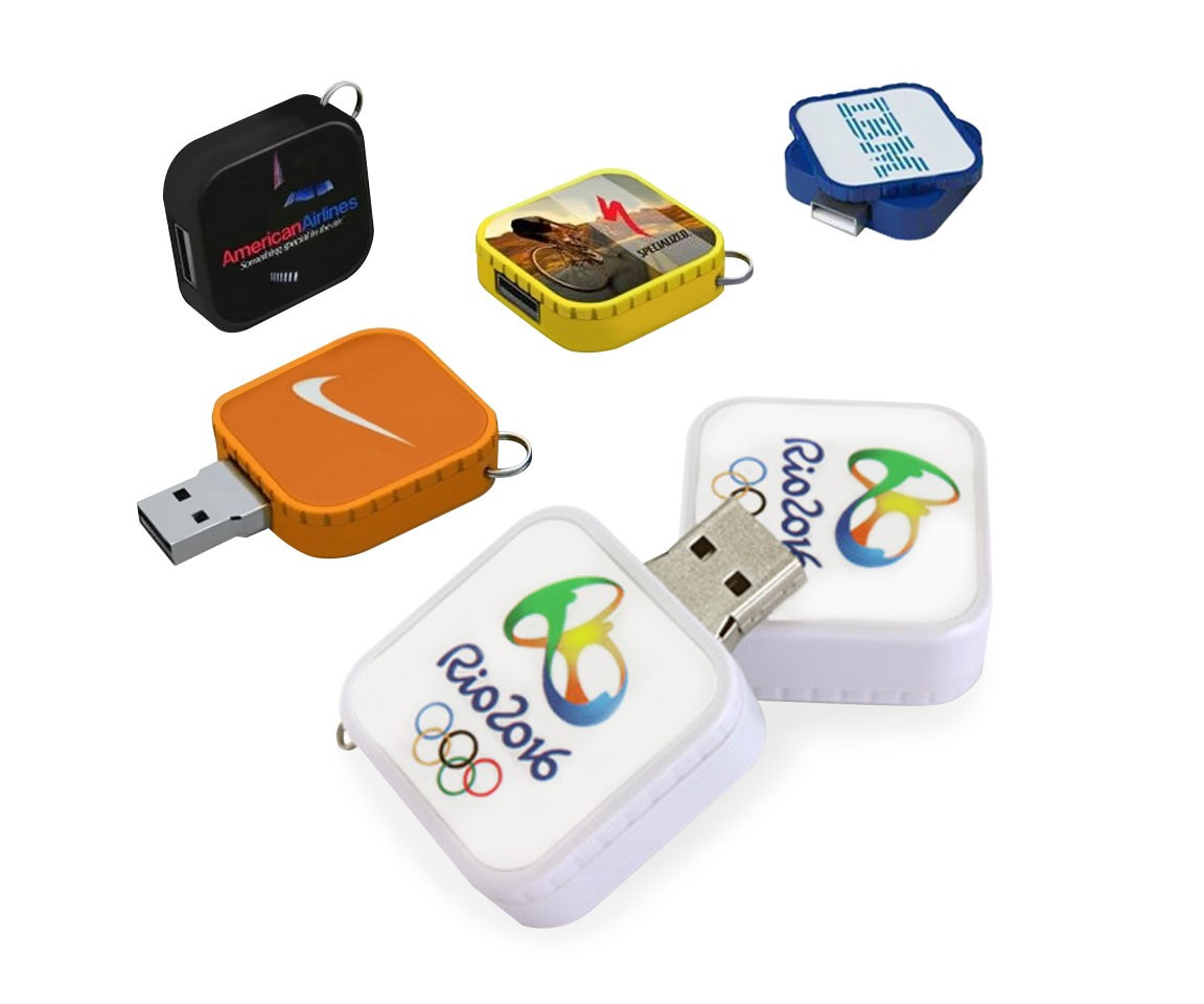 1GB Square Twist Flashdrive with Key Ring