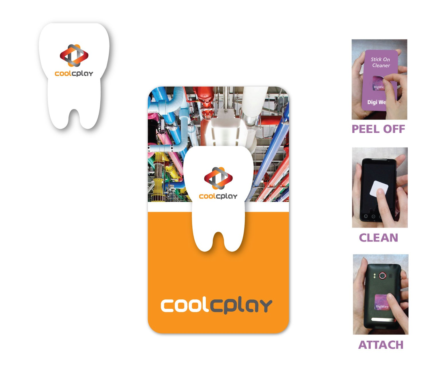"Digicleaner Full Color Screen Cleaner Sticker - Tooth Shape (1""x 1.50"")"