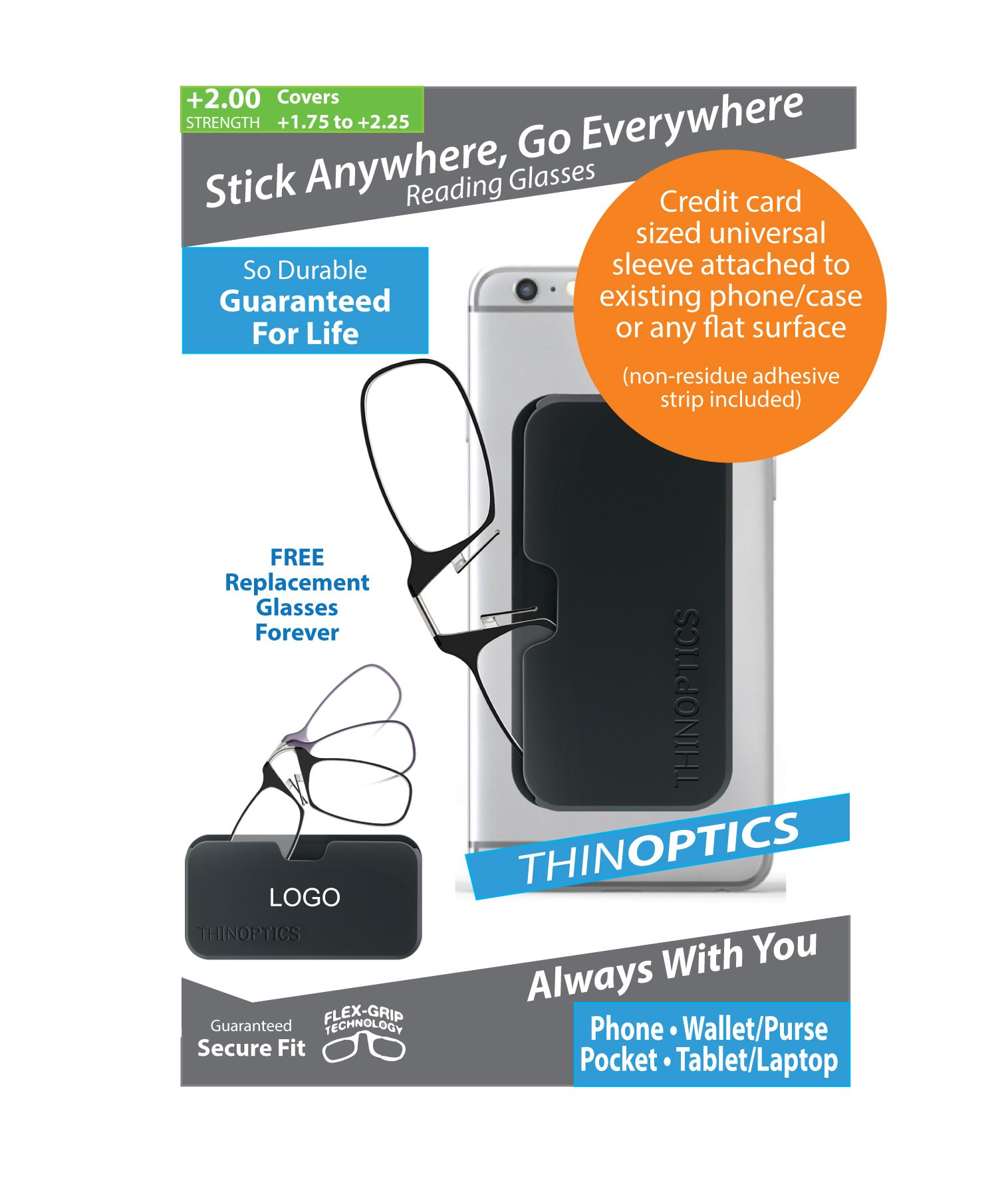 ThinOPTICS - Stick Anywhere, Go Everywhere Reading Glasses