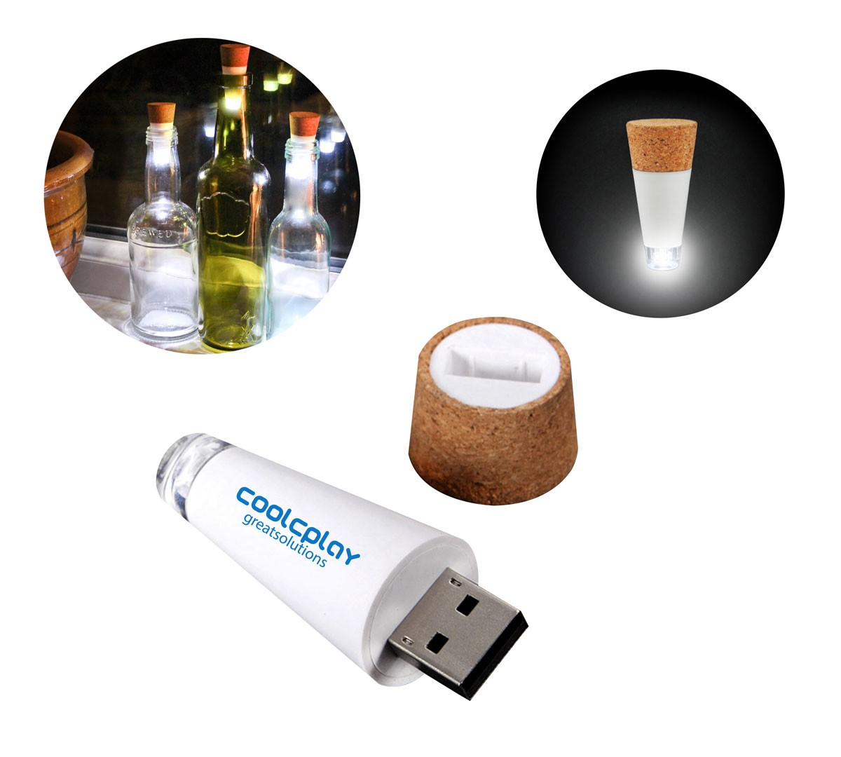 LED Wine Bottle Stopper Cork Light Up