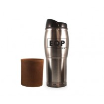 14 oz Chrome Plated Tumbler with Leather Sleeve