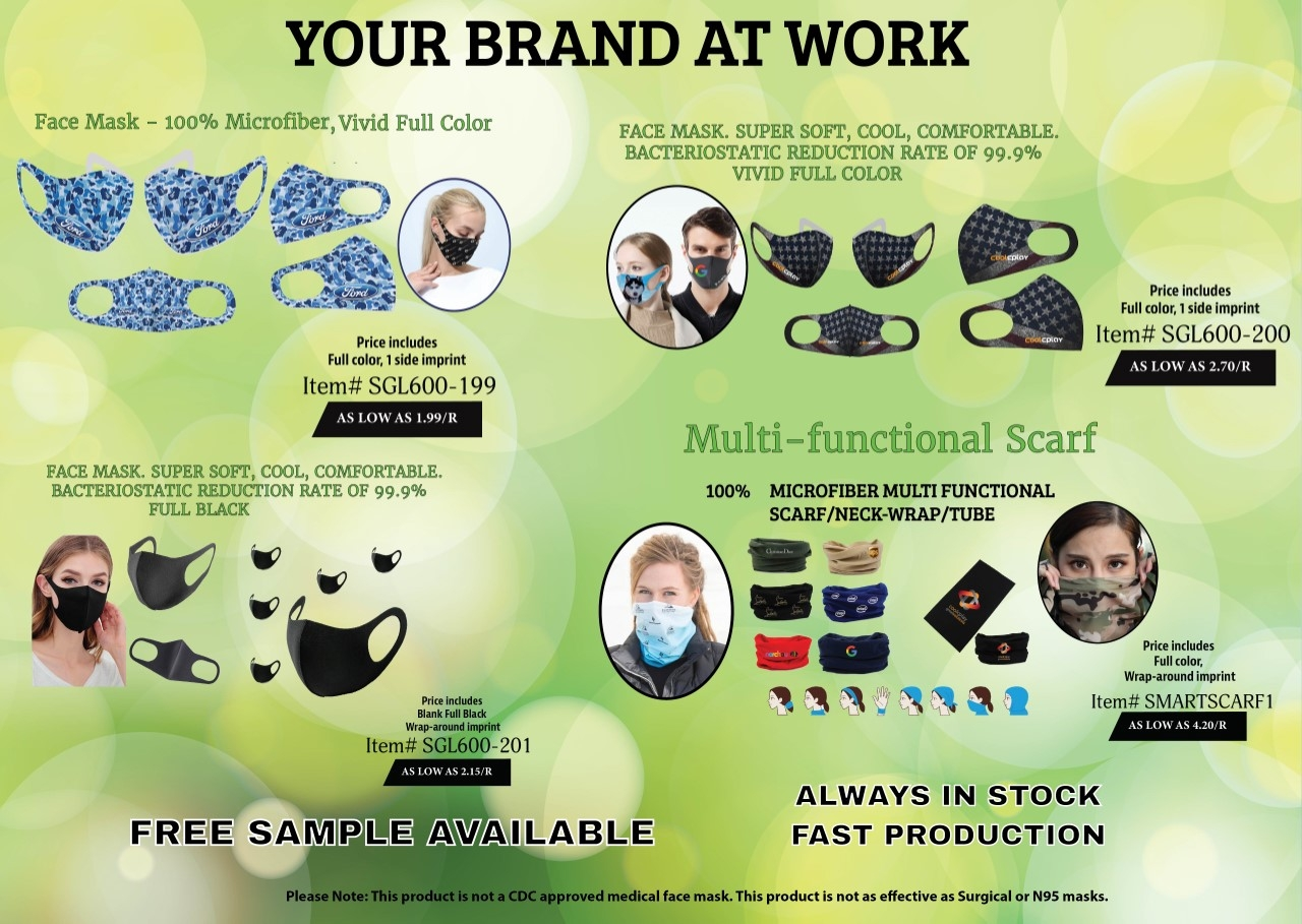 Your Brand At Work - Face Mask - 100% Microfiber, Vivid Full Color - Multifunctional Scarf - 100% Microfiber - Always in stock - Fast production - Free Sample Available